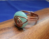 Aventurine Button and Copper Ring OOAK