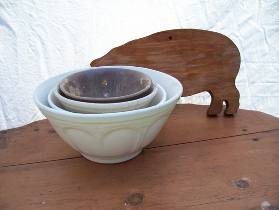 Large White Ironstone Mixing Bowl  heart embossed
