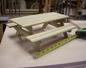barbie size picnic table, 1:6 scale, made of wolmanized lumber