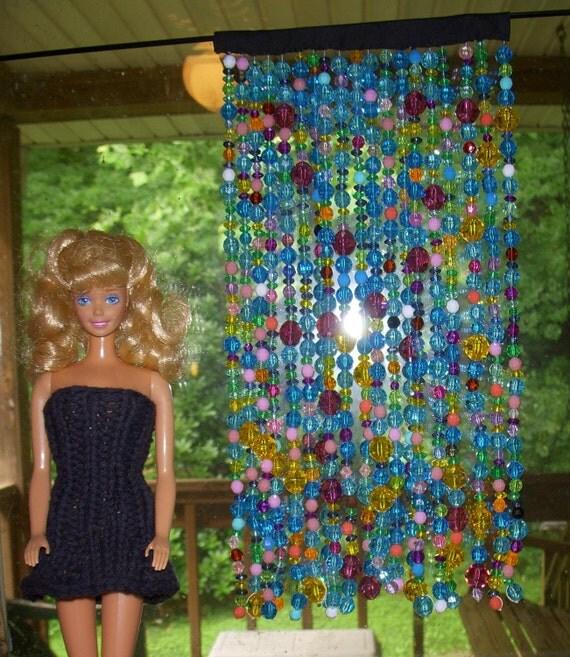 1:6 scale  barbie bead curtain bright blues