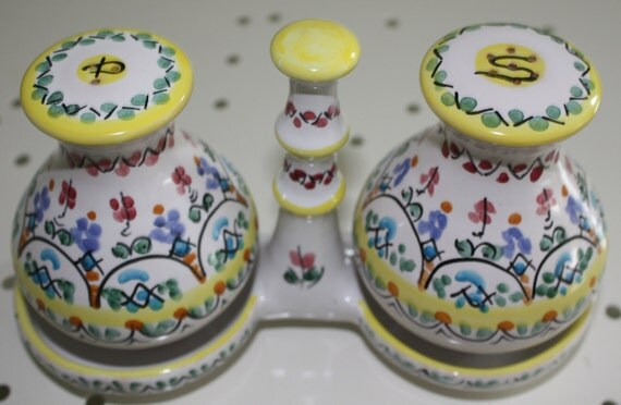 Salt and pepper set from Spain handcrafted pottery