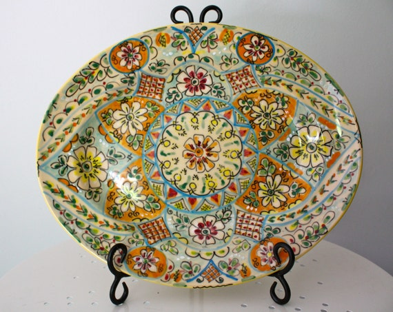 Large Oval Rimmed Plater Handmade in Spain