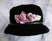 Elegant Black Velvet Girl's Hat with Handmade Silk Roses and French Ribbon Leaves