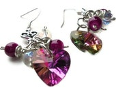 Magenta Crystal Heart Cluster Earrings, Crystal Bridal Earrings, Dangle Earrings