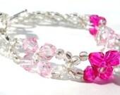 Pink Crystal Bridal Bracelet