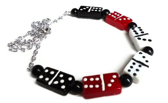 Red/Black/White Domino Necklace on Silver Chain