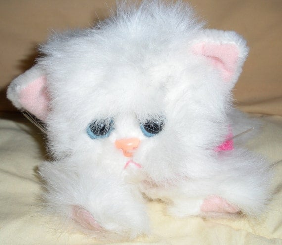 Vintage Kitty Kitty Kitten Fluffy White Purring Plush
