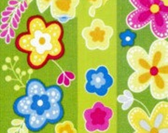 "Studio E ""Green Floral Stripe"" Fabric 1 Yard"