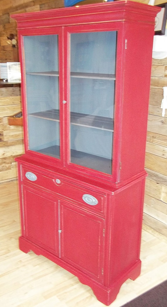 Items Similar To China Cabinet Or Hutch Distressed Red And