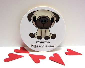 Adorable Pug - XOXOXOXO - Pugs and Kisses - Wood Magnet