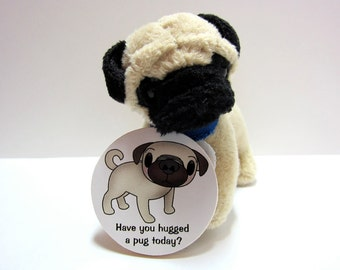 Adorable Pug - Have You Hugged A Pug Today - Wood Magnet