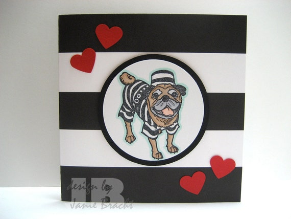 Cute Pug in a Jail Suit - You Stole My Heart Greeting Card