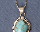 American Navajo Indian  Al Yazzie Sterling Silver Turquoise Pendant FREE SHIPPING IN U.S.