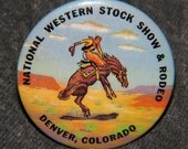 "Bucking Bronco,  1-3/4"" button pin, National Western Stock Show & Rodeo - Denver Co free shipping"