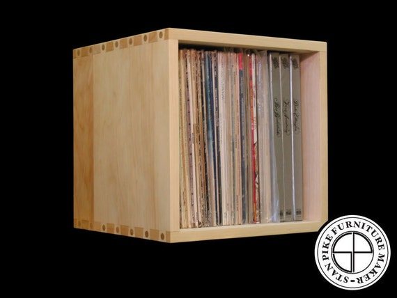 record album storage cube by stanpike on etsy. Black Bedroom Furniture Sets. Home Design Ideas