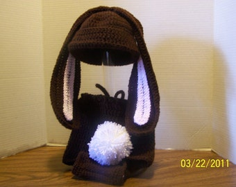 Infant crocheted Bunny Hat & Diaper Cover in Chocolate
