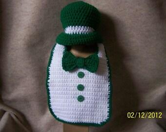 Crocheted Tuxedo Bib & hat for St Patricks Day