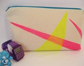 Neon Geometric Zipper Pouch and Clutch