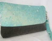 Galaxy Clutch- Hand Dyed Mint and Charcoal Zipper Wristlet