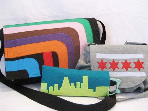 RESERVED LISTING- Chicago Themed Bags, Glasses Case and Feather Wristlet for Nae Fly