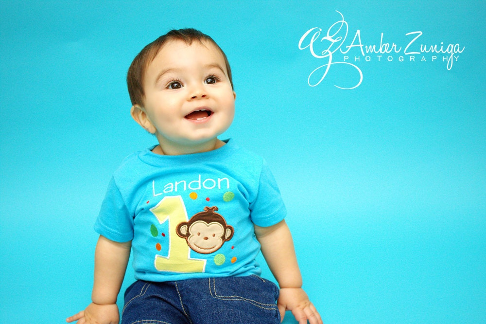1st Birthday Boy Shirt Mod Monkey Birthday Shirt 1st