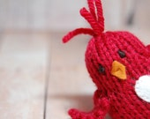 Bird Toy Knit Red Plush Chick Waldorf Natural Ornament for Children Girl Boy for Spring Easter Christmas Valentine