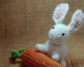 bunny softie, stuffed knit white bunny, knit bunny rabbit with carrot, easter bunny, easter spring toy, bunny nursery, woodland animal