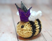 Queen Bee Brooch- Bumble Bee Lapel Pin - Knit - Crown - Mother's Day- Spring - Natural Fibers - Yellow - Black - Stripes - Purple