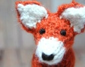 Knit Fox Waldorf Stuffed Woodland Animal Toy for Children Nursery Decor Orange Black Cream Alpaca Wool Natural Fibers