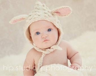 Lamb Hat, Toddler Animal Ears Bonnet, Knit, Lamb Halloween Costume, Easter, Alpaca, Animal Hat Boy Girl, Photography Prop, Child 2T - 5
