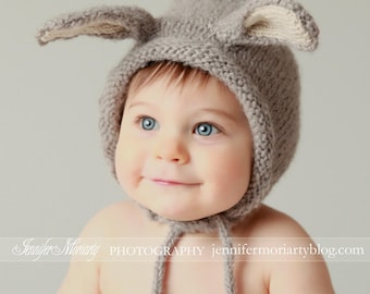 Bunny Hat, Baby Bonnet, Bunny Bonnet, Bunny Ears, Animal Hat, Easter bonnet, Baby Photo Prop, Boy Hat, Girl Hat, Knit Bunny Hat, Alpaca Hat