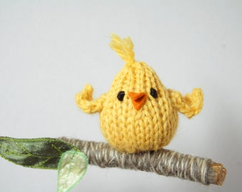 Yellow Bird Mobile, Modern Woodland Mobile, Ornament, Natural Baby Nursery, Waldorf - Natural Fibers - Merino - Wool - Woodland - Blue