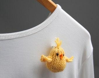 Bird Brooch- Little Chick Lapel Pin - Knit - Mother's Day - Spring - Natural Fibers - Alpaca - Yellow