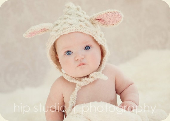 Lamb Hat, Baby Lamb Bonnet, Lamb Pixie Hat, Sheep Hat, Animal Hat, Animal Ears, Lamb Halloween Costume, Spring Photo Prop, Baby Photo Prop