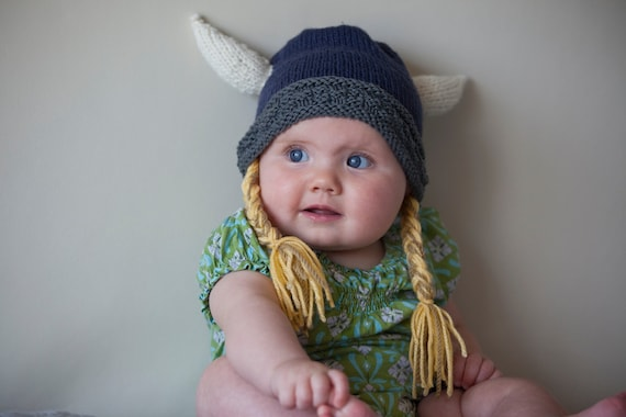 Viking Hat (natural fibers) - Knit Viking Helmet with Horns- Sizes: Toddler - Little Child (12 month - 5 years) - Halloween - Fairy Tale