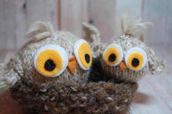 Owls Knit Waldorf Soft Toy Amigurumi Birds in Nest Modern Woodland Nursery Imaginative Play Natural Fiber Set in Cream Brown