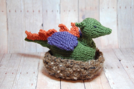 Waldorf Toy - Dragon Hatchling in Nest - Knit - Transforming Toy (merino / cotton) - Waldorf - Imaginative Play - Natural Fibers