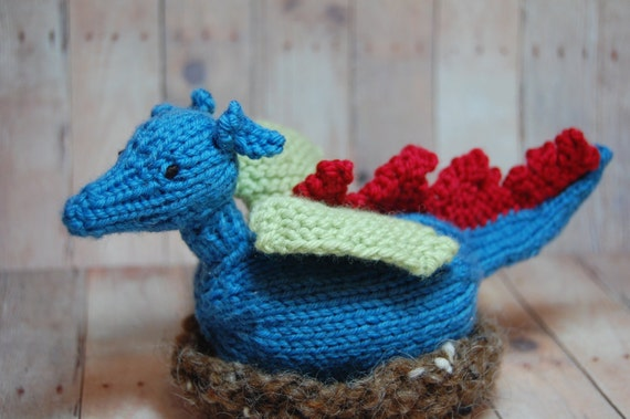 Waldorf Toy - Dragon Hatchling in Nest - Easter - Spring - Knit - Transforming - Imaginative Play - Natural  - Blue - Green - Red