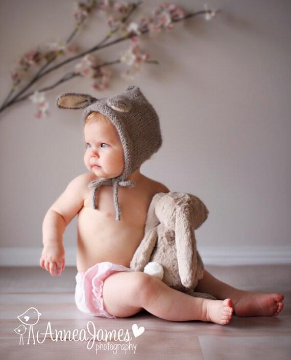 Baby Hat, Newborn Bunny Bonnet, Bunny Hat, Animal Hat, Newborn Photo Prop, Baby Photo Prop, Easter Bonnet, Alpaca, Knit Bunny Rabbit