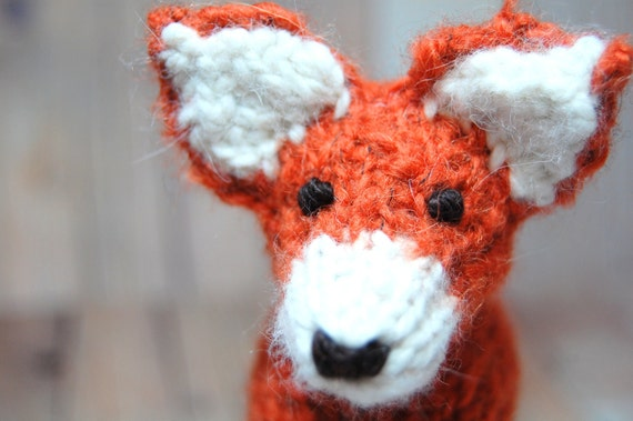Knit Fox Waldorf Stuffed Woodland Animal Toy for Children Nursery Decor Orange Black Cream Alpaca Wool Natural Fibers