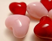 Pink and Red Handmade Lampwork Heart Glass Beads