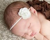 White Skinny Flower Headband Baby Photo Prop. White Elastic. White headband. baby girl photo photography. Baby shower gift Headbands Rose