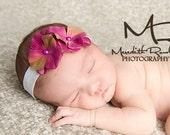 Fuschia Raspberry Purple Hydrangea Flower Headband. White Foldover Elastic Headband. Soft Newborn Toddler Infant HEADBAND. Baby headband