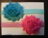 2 Pack Starter Set Vintage Inspired Hot Pink and Turquoise Shabby Chic Flower Rose Headband Set. Elastic baby headbands. Photography prop