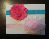2 Pack Starter Set Vintage Inspired Hot Pink Turquoise & Light Pink Shabby Chic Flower Headband. Elastic baby headbands. Photography prop