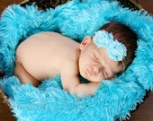 Light Blue Rosette Vintage Inspired Shabby Chic Mini Rose 2 Flower Headband. skinny blue elastic headband. Photography prop Baby Gift.