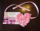 Maternity Sash Light Baby Pink Heart Rosette Sash Belt Ribbon Bow or use as Baby Headband. Photography Prop Baby headbands. Maternity Sashes