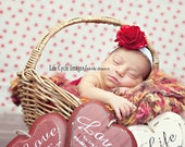 Valentine's Day Vintage Inspired Red and White Satin Flower Puff Flower Headband. White elastic baby headbands. Photography prop photo prop