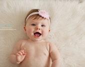 Vintage Inspired Shabby Chic Frayed Light Pink Baby Pink Rose Flower Baby Headband. Light Pink Headband. Flower headband. Photography prop