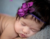 Purple Delphinium Deep Dark Wine Purple Baby Headband. Pearl Flower headband Baby girl headbands. Photography prop